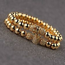 8MM Copper Beads Gold Plated Balls Micro Pave CZ King Crown Men's Bracelets New