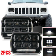 2x DOT 7x6 LED Black Headlights For 1986-1995 Wrangler YJ 1984-2001 Cherokee XJ