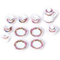 15 Stueck Puppenhaus Miniatur Porzellan Tee Set + Tasse + Teller - Buntes Blumen