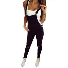 Damen Jumpsuit Overall Denim Jeans Skinny Latzhose Ärmellos Schwarz Hosenanzug
