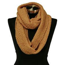 Gold Yellow Wavy Cable Knit Stitch Warm Winter Infinity Scarf Circle Snood Shawl