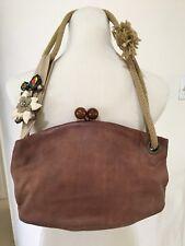 Artsy Marni Jeweled Flower Distressed Leather Evening Handbag