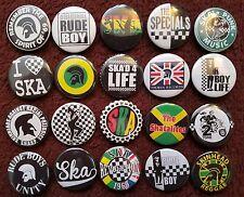 Ska 2 Tone Skinhead Rude Boy Button Badges x 20.  Pins. Wholesale. Bargain.:0)