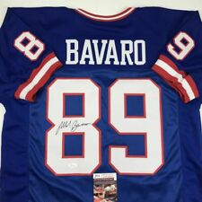 Autographed/Signed MARK BAVARO New York Blue Football Jersey JSA COA Auto