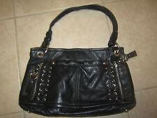 "B MAKOWSKY - Soft Black Leather Purse Hand Bag 8"" Tall Zippers Logo interior"