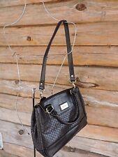 Tignanello Black Leather Woven Satchel Shoulder Bag