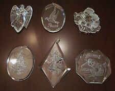 6 Vintage Acrylic Etched Xmas Ornaments Angels, Peace, Life Savers, Tree, Bells