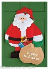 Happy Holidays Santa Claus Welcome Door Wall Hanging Winter Christmas Decor