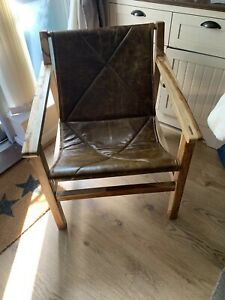 Leather Hardwood Lounger Chair
