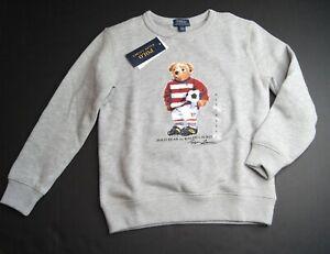 POLO RALPH LAUREN Boys Polo Soccer Bear Fleece Sweatshirt NEW NWT