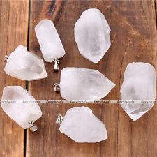 1X HOT Random Natural Irregular Rock Quartz Crystal Healing Point Chakra Pendant