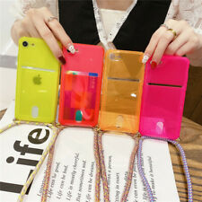 For iPhone 11 Pro Max XR 8 7 Card Holder Clear Neck Lanyard Slim Soft Case Cover