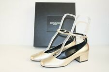 $845 BRAND NEW SAINT LAURENT BABIES 40mm Platino Leather Pumps 37 / 7