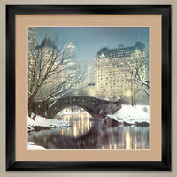 """35Wx 35H"""": TWILIGHT IN CENTRAL PARK by ROD CHASE - DOUBLE MATTE, GLASS and FRAME"""
