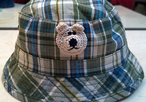NEW OLIVE GREEN PLAID BUCKET HAT 3 4 3T 4T YEARS BOYS TODDLER with HANDMADE BEAR