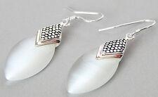 Marcasite 925 STERLING SILVER DROP WHITE OPAL EARRINGS