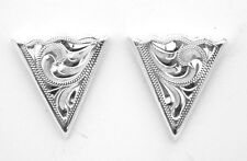 WESTERN Genuine SOLID GERMAN SILVER ENGRAVED COLLAR TIPS - NEW 2 piece set