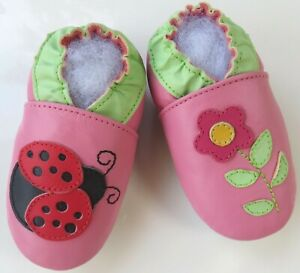 Minishoezoo ladybug flower pink  24-36 m US 9-10 soft sole leather girl shoes