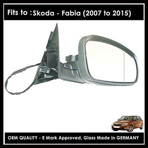 Complete Wing Mirror For Skoda Fabia 2007 to 2015  RIGHT HAND, Driver Side
