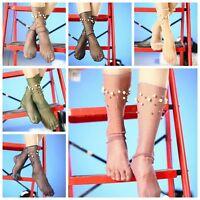 Women Summer Glitter Soft Black Lace Fishnet Mesh Ankle Socks Pearl Stockings