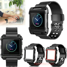 Black Armor New Replacement Wristband Watch Band Strap Frame For Fitbit Blaze US