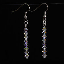 Crystal Clear Ab Straight Earrings using Swarovski Elements