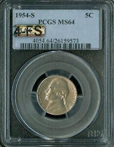 1954-S JEFFERSON NICKEL PCGS MAC MS64 4-FS RARE GC $1,150.00 FOR A FS .