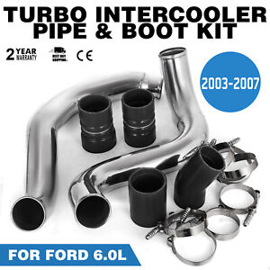 Turbo Intercooler Pipe Boot Kit Silver For Ford 03-07 6.0L CAC Tube Powerstroke