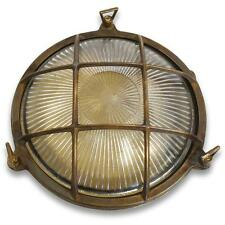 Solid Antique Brass Porthole Bulkhead Large complete with Led filament lamp