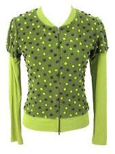 Millergirl Nicole Miller Sweater Sz S Cardigan Top Green Textured Polka Dots