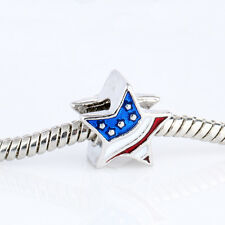 NEW 925 Silver American Flag Star Spacer Charm Bead For European Bracelet