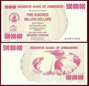 Zimbabwe P60, 500 Million Dollars, Bearer Cheque, Tigerfish, dam, UNC, 2008