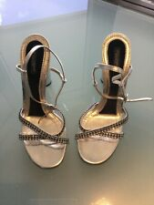 Dolce &Gabbana Womens Shoes SZ 40/10 Silver sandals Leather Heels  Crystals