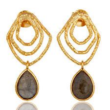 18k Gold Plated Silver Labradorite Womens Dangle Earrings Handmade Jewelry