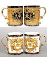 Set of 2 Euro Porcelain Medusa Fine Bone China Coffee Tea Mugs / Cups - 13 oz