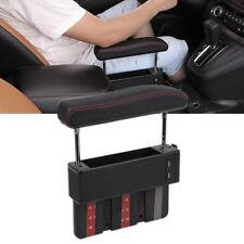 Adjustable PU Leather Car Seat Armrest Catch Storage Box Pocket Organizer w/ USB