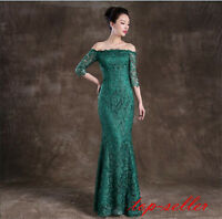Womens Sexy Party Pageant Evening Dress Prom Gown Green Lace Long Sleeve Formal