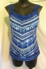 AUTOGRAPH BLUE TIE DYE CHEVRON TANKINI TOP/BATHER/SWIMSUIT-SIZE 26 NEW JUST IN!!