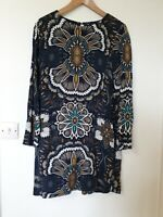 H&M Retro Print Hippie Relaxed Fit Tunic Dress Size 10 (38)