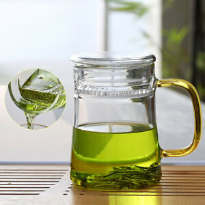 Thickened Heat-Resisting Glass with Infuser Tea Mug Office Filter Tea Cup