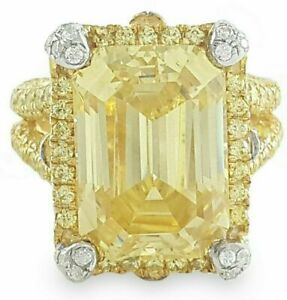 925 Sterling Silver Ring Yellow Gold Plated yellow Emerald Round Cz -Magnifique