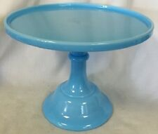 """Cake Plate Pastry Tray Bakers Cupcake Stand PlainSimple Robin Egg Blue Glass 10"""""""