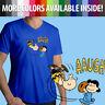 Classic Peanuts Charlie Brown Football Kick Lucy Cartoon Mens Tee V-Neck T-Shirt