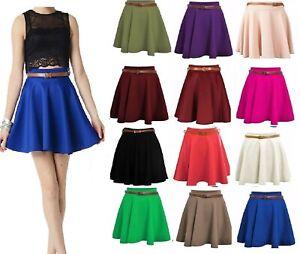 Plain Belted Flared Short Mini Skater Swing Party Skirt  Womens Ladies (8-22)