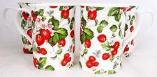 Strawberry Fields Mugs Set of Six Fine Bone China Mugs Hand Decorated in the UK