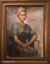 Rare Sambodja Oil Painting Female Portrait, Listed Indonesian Artist, Provenance
