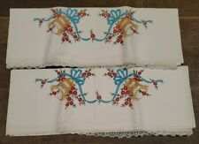vintage embroidered pillowcases, wedding bells theme