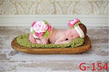 Newborn Girls Photography Knit Flower Headband Diaper Cover Baby Photo Props