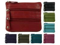 Mens Ladies Quality Leather Coin Purse by Prime Hide 3 Sections 10 Colours Handy