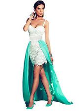 Abito ricamato pizzo scollo Drappo Coda Cerimonia Lace Evening Party Dress L